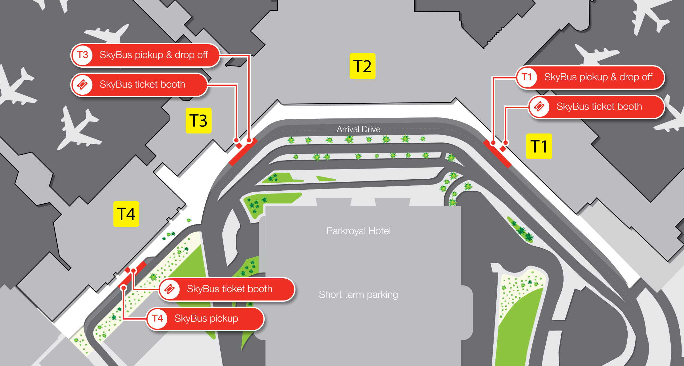 Skybus pickup locations