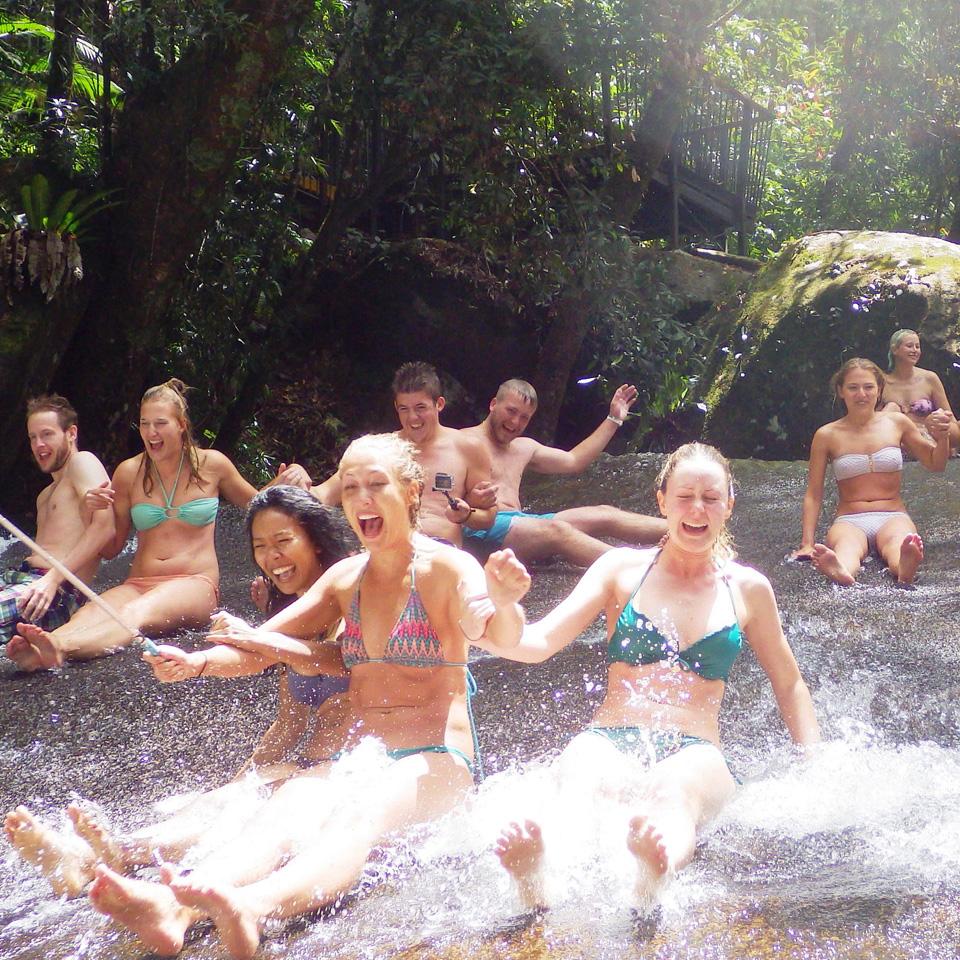 Sliding down Josephine Falls