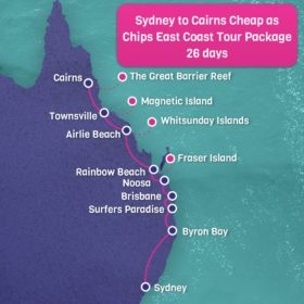 Sydney to Cairns East Coast Map