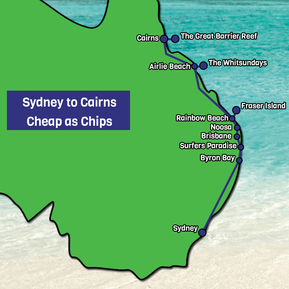 Sydney to Cairns Cheap as Chips map
