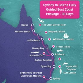 Sydney to Cairns East Coast Tour Map