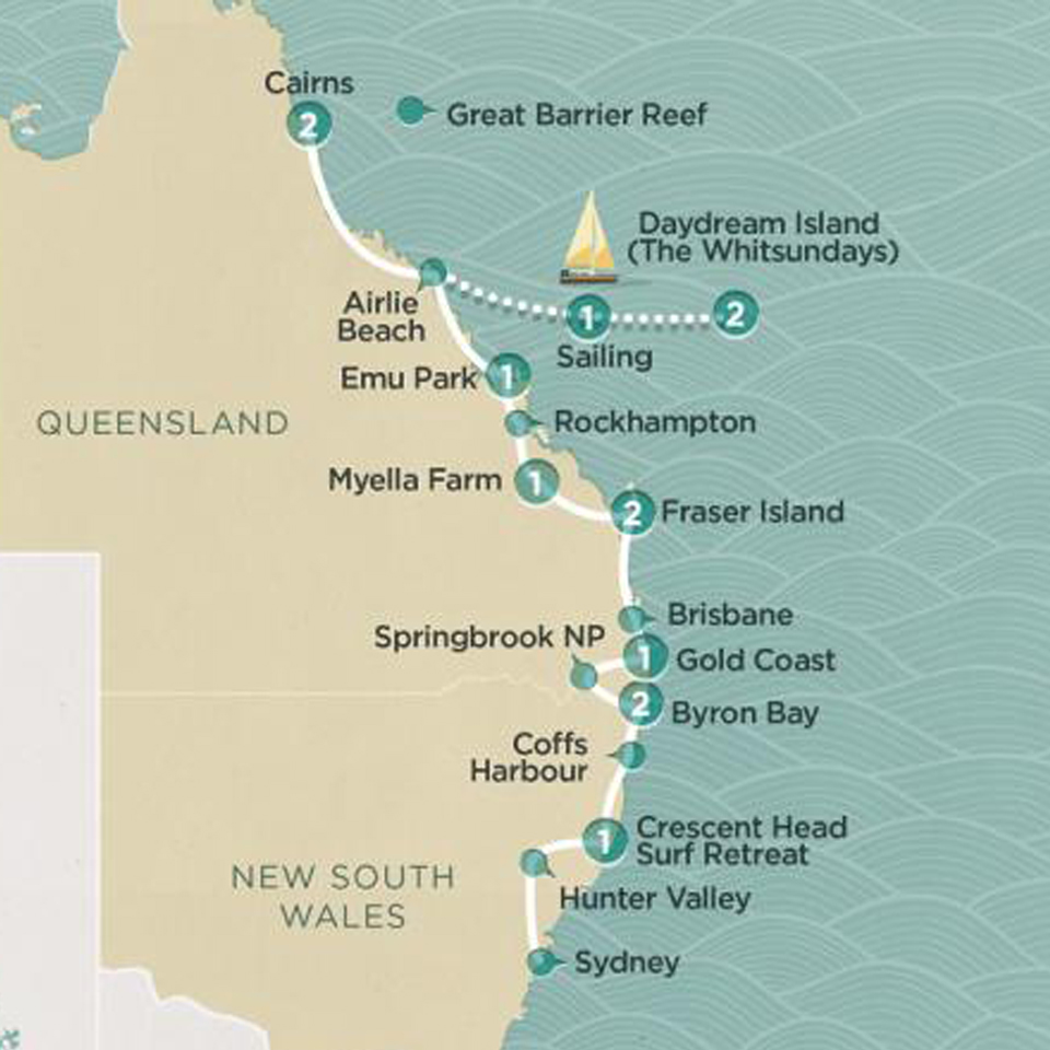 Sydney To Cairns Fully Guided Tour Topdeck - Sydney map world