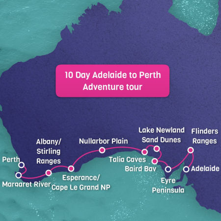 Adelaide to Perth Tour Map