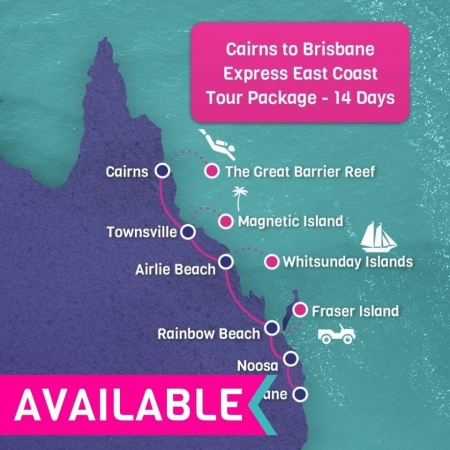 Cairns to Brisbane Express East Coast Tour Package 14 days
