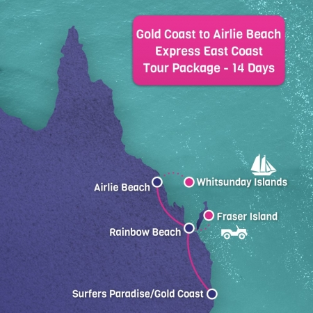 Gold Coast to Airlie Beach East Coast Map