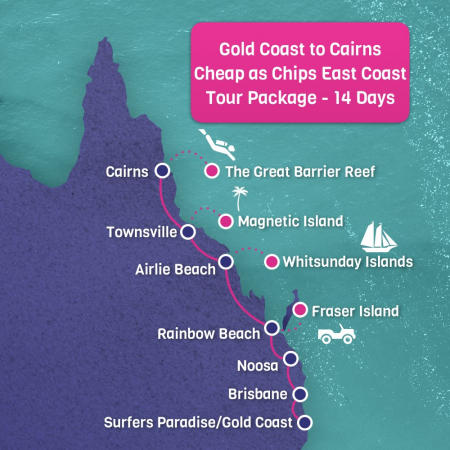Gold Coast to Cairns East Coast Tour Map