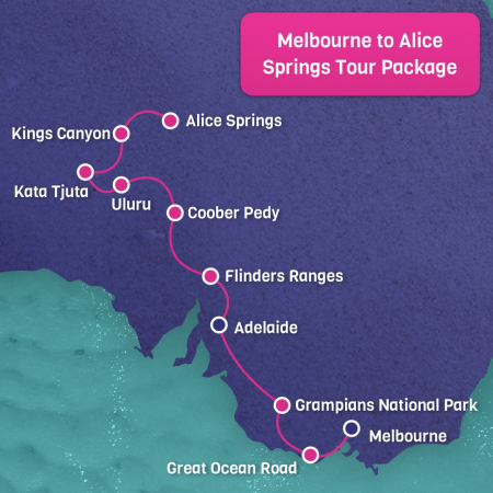 Melbourne to Alice Springs Map