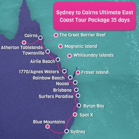 Sydney to Cairns Map