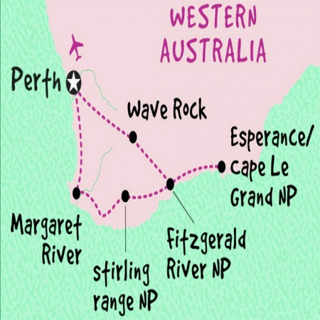 6 day Esperance, Margaret River and Albany Map