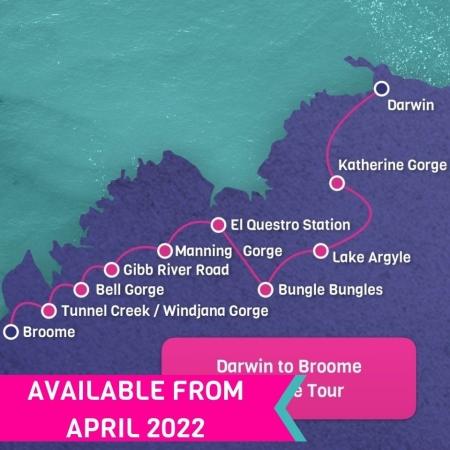 10 day darwin to Broome tour map