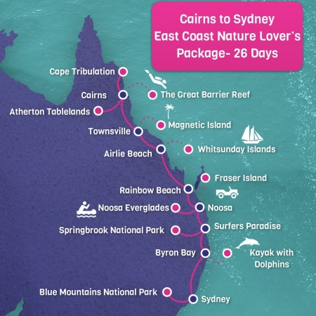 Cairns to Sydney Map