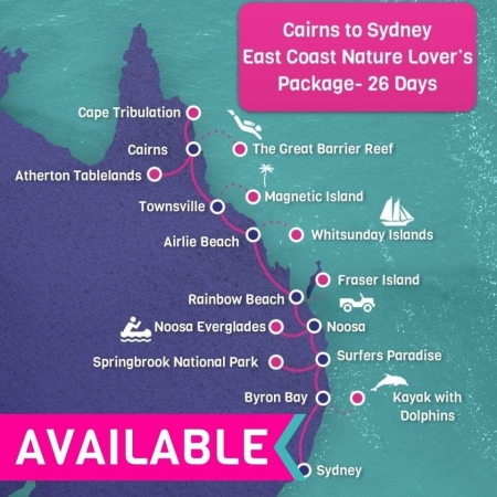 26 days Cairns to Sydney East Coast Nature Lovers Tour Package