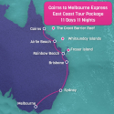 Cairns to Melbourne Tour Map