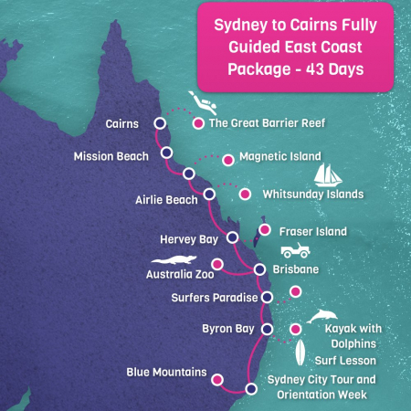 East Coast Australia Map Detailed.Sydney To Cairns Fully Guided East Coast Tour Package 43 Days
