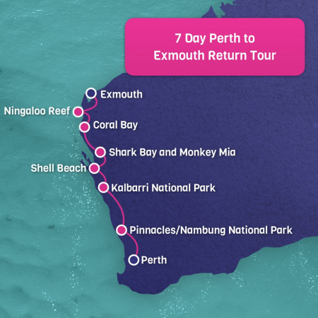 Perth to Exmouth Adventure Map