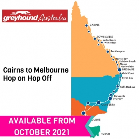 Cairns to Melbourne Hop on Hop Off bus pass