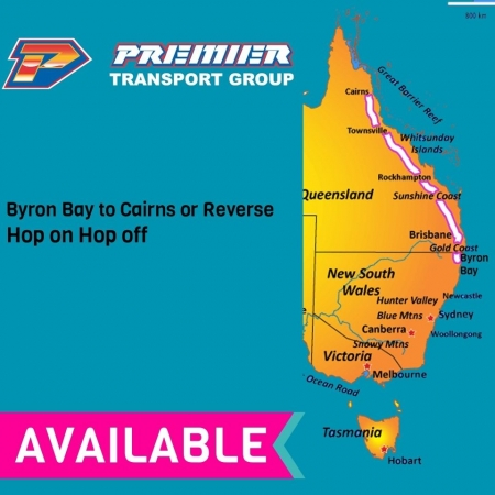 Byron Bay to Cairns or Reverse Hop on Hop off Bus pass