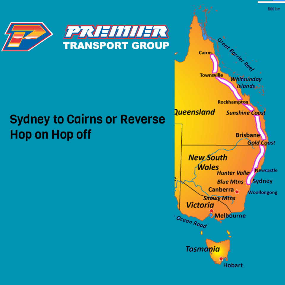 Premier Bus Pass Sydney to Cairns or Cairns to Sydney