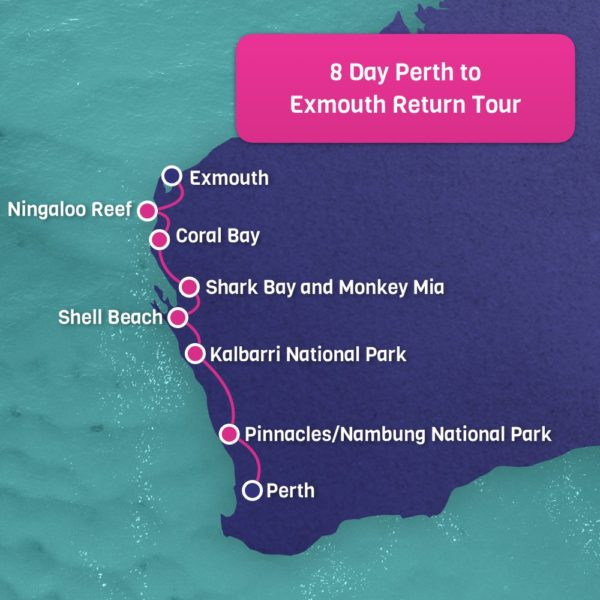 Perth to Exmouth Map